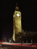 View of the Famous Big Ben Clock Tower Illuminated at Night Photographic Print by Richard Nowitz