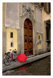 Red Umbrella and Bicycle at the Door, Florence Plakater af Igor Maloratsky