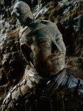 Close View of the Head of One of the Terra-Cotta Warriors Photographic Print by O. Louis Mazzatenta