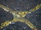 Aerial View Showing an Intersection in the Densely Populated Old Section of Shanghai Fotografisk tryk af Paul Chesley