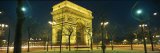 Night View of the Illuminated Arc De Triomphe in Paris Fotografisk tryk af Richard Nowitz