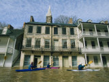 Kayakers paddling through flooded downtown historic Harpers Ferry Art Print