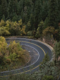 Aerial View of a Runner on a Winding Road in Oak Creek Canyon Photographic Print by John Burcham