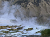 A View of Terraced Mammoth Hot Springs with a Mountain Backdrop Photographic Print by Norbert Rosing