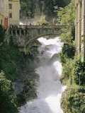 Footbridge over a Waterfall in Badgastein Photographic Print by Walter Meayers Edwards