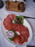 Sliced Roma Tomatoes Fill a Plate at Samis Restaurant in Rhodes Photographic Print by Tino Soriano