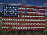 A Makeshift American Flag of Plastic Cups Decorates a Fence Photographic Print by Stephen St. John