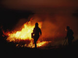Firefighters Start a Controlled Fire on Prairie Land at Night Photographic Print by Joel Sartore