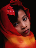 A Portrait of a Muslim Girl with Her Face Framed by a Colourful Scarf, Indonesia Photographic Print by Adams Gregory