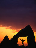 Man Silhouetted in Rock Opening at Sunset, Goreme, Nevsehir, Turkey Photographic Print by Anders Blomqvist