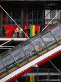 People Travelling Up Glass Escalator at Centre Georges Pompidou, Paris, Ile-De-France, France Photographic Print by Diana Mayfield