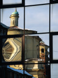 Reflection of St. Caterina in Glass Building, Asti, Italy Photographic Print by Martin Moos