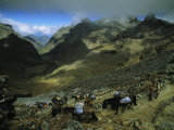 Expedition Enroute Along Mountain Paths Photographic Print by Gordon Wiltsie