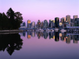 City Skyline at Dusk Reflected in Coal Harbour Vancouver, British Columbia, Canada Photographic Print by Barnett Ross