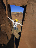 Rock Climbing on Desert Tower, Utah Photographic Print by Bill Hatcher