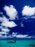 Tourists in Boat on Aitutaki Lagoon, Cook Islands, Pacific Photographic Print by Dallas Stribley