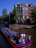 Canal Sightseeing Boat, Amsterdam, Netherlands Photographic Print by Wayne Walton