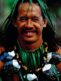 Portrait of Traditonal Dancer, Cook Islands Fotografie-Druck von Jean-Bernard Carillet