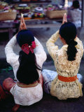 Praying at a Temple Ceremony at Pura Dalem in Peliatan, Peliatan, Indonesia Photographic Print by Adams Gregory