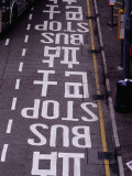 Bus Stop Markings at Wanchai, Hong Kong, China Photographic Print by Lawrence Worcester