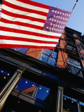 American Flag Waving at West Broadway in Soho, New York City, New York, USA Photographic Print by Angus Oborn