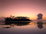 Dawn Sky Over Motu Taakoka, Mirrored in Waters of Muri Lagoon, Muri, Cook Islands Photographic Print by Manfred Gottschalk