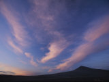 A Colorful Twilight Sky with Wispy Clouds over Bruneu Dunes, Idaho Photographic Print by Michael Melford