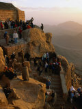 Crowd Watching Sunrise from Summit of Mt. Sinai, Mt. Sinai, Egypt Photographic Print by Mark Daffey