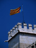 Flag Flies Over the 15th Century Lonja Silk and Commodity Market, Valencia, Spain Photographic Print by Johnson Dennis