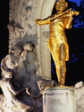 Statue of Johann Strauss at Night, Innere Stadt, Vienna, Austria Photographic Print by Richard Nebesky