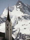 Church Tower and Ballunspitz Peak Seen from Galtur Region of Austria Photographic Print by Gordon Wiltsie