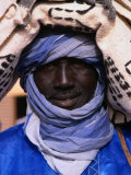 Close Up of a Tuareg Carpet Seller in Traditional Indigo Clothing, Timbuktu, Mali Photographic Print by Patrick Syder