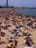 Crowded Beach of Platja De La Nova Icaria, Barcelona, Spain Photographic Print by Stephen Saks