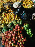 Fruit Vendor at Market Stall, Puno, Peru Photographic Print by Richard I'Anson