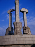 Monument to Party Foundation (Sickle, Hammer and Brush), P'Yongyang, North Korea Photographic Print by Tony Wheeler