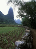 Rock Wall and Farm Fields Along the Li River, Guilin, Guangxi, China Photographic Print by Raymond Gehman