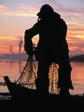 Fisherman's Memorial Statue Silhouetted Against Sunset, Eureka, California, USA Photographic Print by Stephen Saks