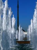Fountains and Obelisk in Victory Park (Park Pobedy), Moscow, Russia Photographic Print by Jonathan Smith