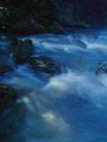 Blue Pastel Water Breaks over Rocks at Bittangabee Bay Photographic Print by Jason Edwards