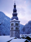 L'Eglise Saint-Foy (Church) at Dusk in Village of La Clusaz, France Photographic Print by Richard Nebesky
