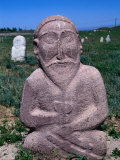 Ancient Stone Sculpture Near Burana Tower, Kyrgyzstan Photographic Print by Martin Moos