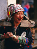 Portrait of Hilltribe Woman at Market, Muang Sing, Laos Photographic Print by Anders Blomqvist