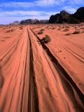 Desert Tracks Carved by Safari Jeeps, Wadi Rum National Reserve, Aqaba, Jordan Photographic Print by Mark Daffey