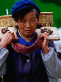 Portrait of Woman from the Naxi Minority at Market, Lijiang, China Photographic Print by Richard I'Anson