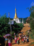 Villagers Going to Town Market, Pindaya, Shan State, Myanmar (Burma) Photographic Print by Anders Blomqvist