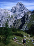 Hikers on Konigsee-Wimbachtal Below South Peak of Waltzmann, Berchtesgaden, Bavaria, Germany Photographic Print by Grant Dixon