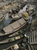 Houseboats Line a Waterway Through a Poor Kashmir Town Photographic Print by Gordon Wiltsie