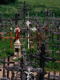 Crucifixes Surrounding Statue on Hill of Crosses, Siauliai, Lithuania Photographic Print by Pershouse Craig