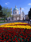 Karlskirche (Church) with Flower Bed in Foreground, Wieden, Vienna, Austria Photographic Print by Richard Nebesky