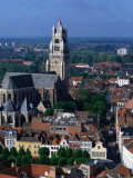 The Rooftops of Bruges and the Landmark Tower of 13th Century St. Salvatorskathedral, Belgium Photographic Print by Doug McKinlay